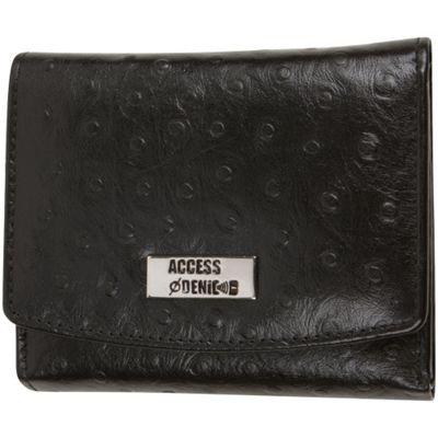 Access Denied RFID Blocking Women's Trifold Wallet Slim Line Black Ostrich - Access Denied Women's Wallets