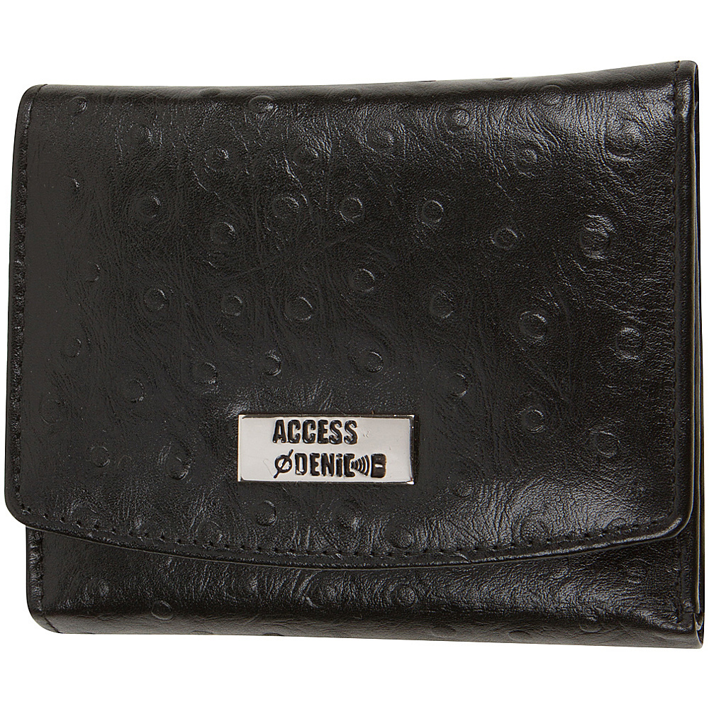 Access Denied RFID Blocking Women s Trifold Wallet Slim Line Black Ostrich Access Denied Women s Wallets