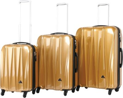 Triforce Trident Collection Hardside 3-piece Spinner Luggage Set Gold Brush Gross - Triforce Luggage Sets