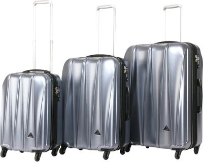 Triforce Trident Collection Hardside 3-piece Spinner Luggage Set Silver Brush Matte - Triforce Luggage Sets