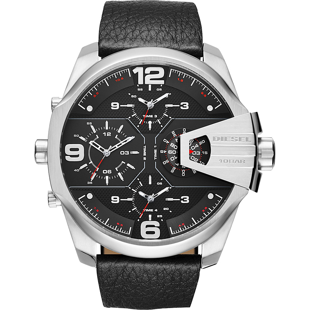 Diesel Watches Uber Chief Two Hand Leather Watch Black and Silver Diesel Watches Watches