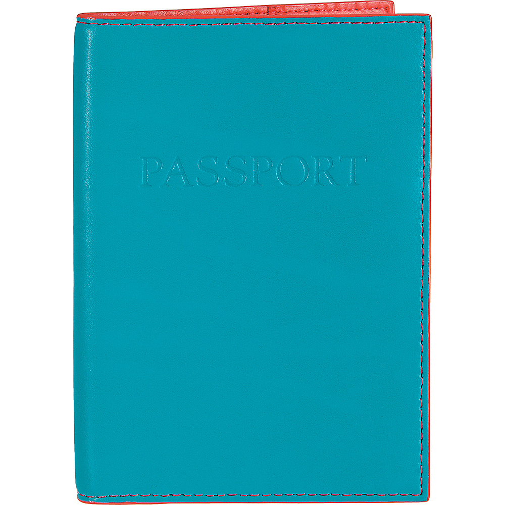 Lodis Audrey Passport Cover Turquoise/Coral - Lodis Travel Wallets - Travel Accessories, Travel Wallets