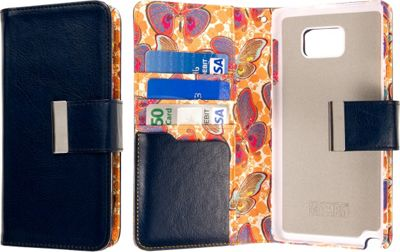 EMPIRE KLIX Klutch Designer Wallet Case, Samsung Galaxy Note 5 Navy Blue Butterfly - EMPIRE Electronic Cases