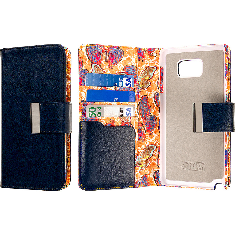 EMPIRE KLIX Klutch Designer Wallet Case Samsung Galaxy Note 5 Navy Blue Butterfly EMPIRE Electronic Cases