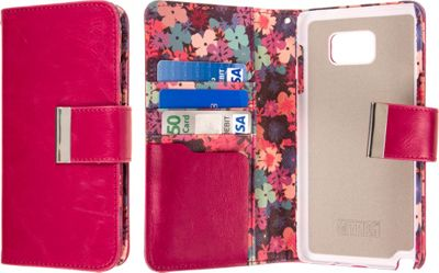 EMPIRE KLIX Klutch Designer Wallet Case, Samsung Galaxy Note 5 Hot Pink Flower Garden - EMPIRE Electronic Cases