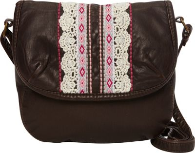 T-shirt & Jeans Washed Mini Flap Crossbody With Ribbon And Embroidery Brown - T-shirt & Jeans Manmade Handbags