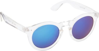 POP Fashionwear Classic Vintage Fashion Round Sunglasses Clear/Blue Mirror Lens - POP Fashionwear Sunglasses