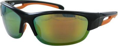 CB Sport Plastic Wrap Sunglasses Black and Orange with Red Mirror Lenses - CB Sport Sunglasses
