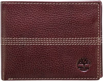 Timberland Wallets Sportz Quad Stitch Bifold Wallet Burgundy - Timberland Wallets Men's Wallets