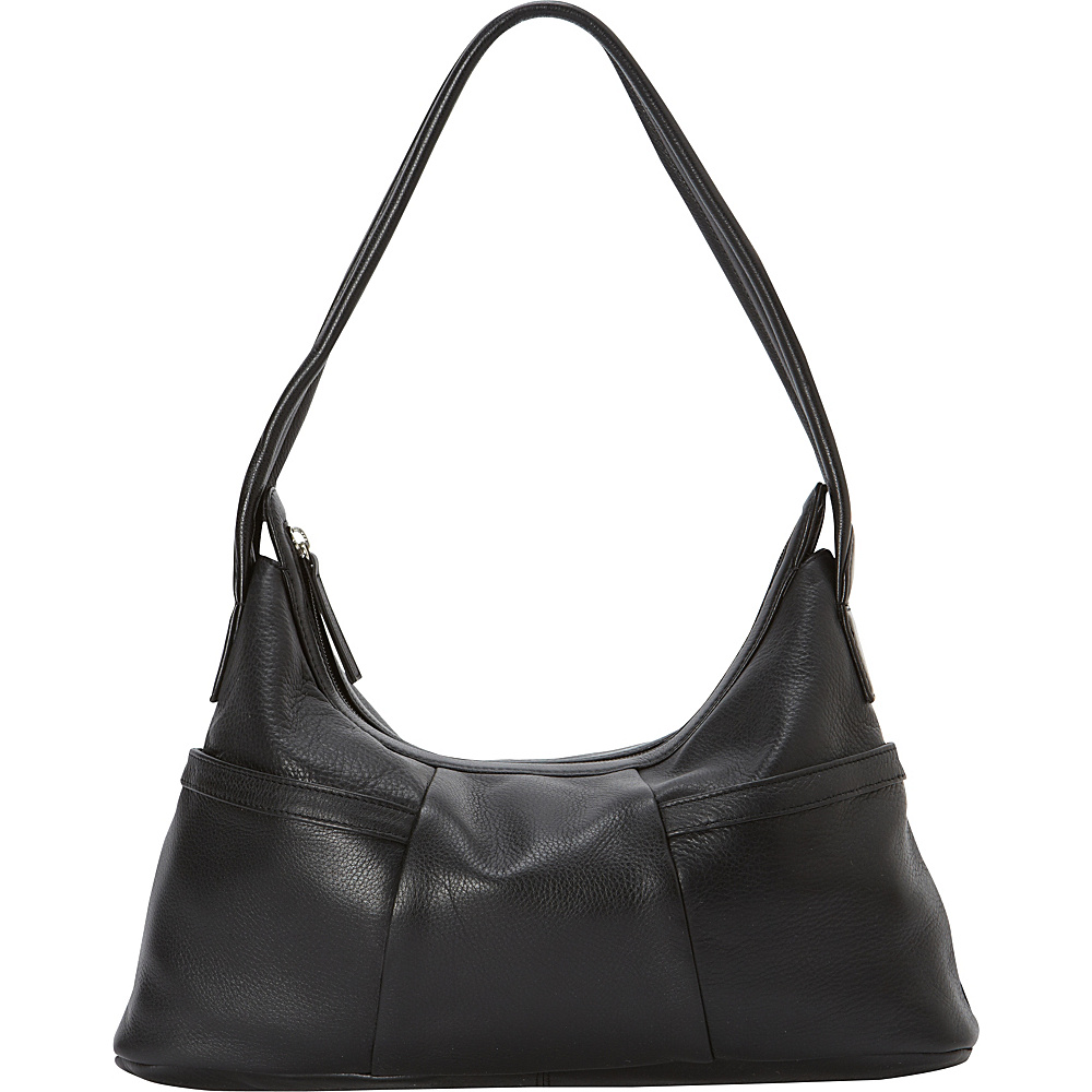 Derek Alexander Small Hobo Style EW Two Top Zip Black - Derek Alexander Leather Handbags - Handbags, Leather Handbags