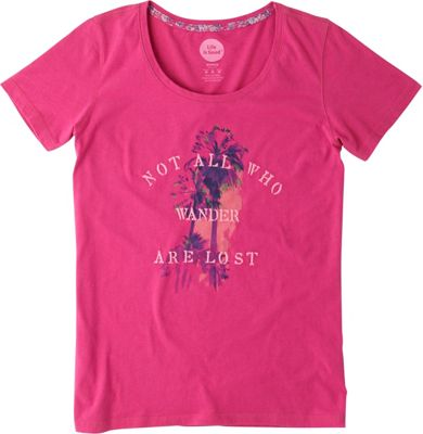 Life is good Women's Creamy Scoop Tee M - Bold Pink - All Who Wander - Life is good Women's Apparel