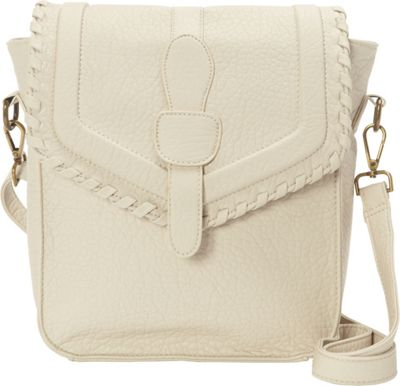 nu G Whipstitch Accent Flap Crossbody Tan - nu G Manmade Handbags