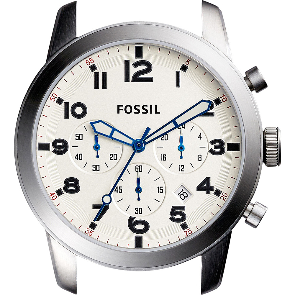 Fossil Pilot 54 44mm Chronograph Stainless Steel Watch Case White - Fossil Watches - Fashion Accessories, Watches