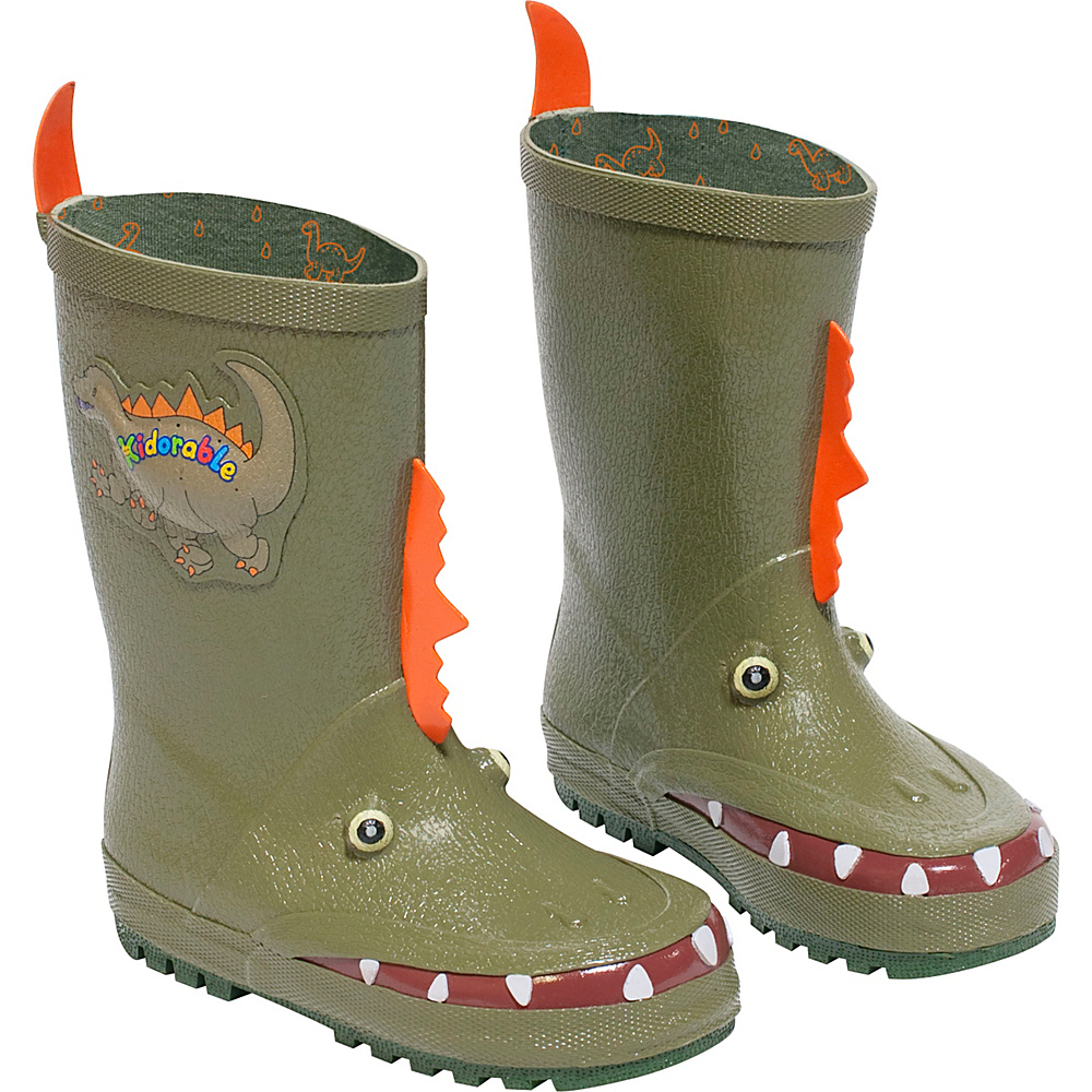 Kidorable Dinosaur Rain Boots 13 (US Kids) - M (Regular/Medium) - Green - Kidorable Mens Footwear - Apparel & Footwear, Men's Footwear