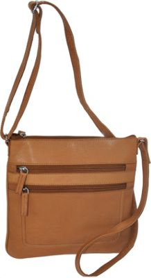 R & R Collections Soft Drum Dyed Leather Square Crossbody Bag TAN - R & R Collections Leather Handbags