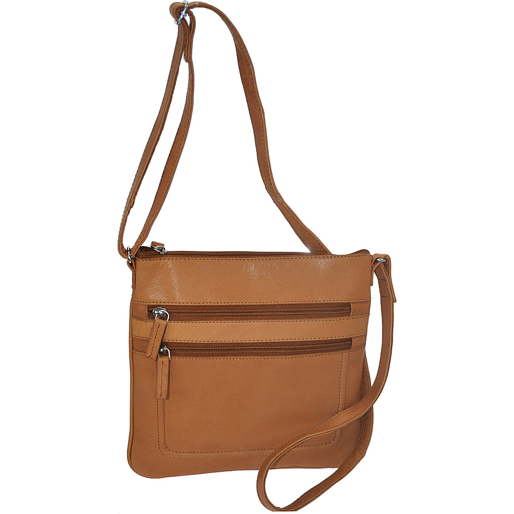 R R Collections Soft Drum Dyed Leather Square Crossbody Bag TAN R R Collections Leather Handbags