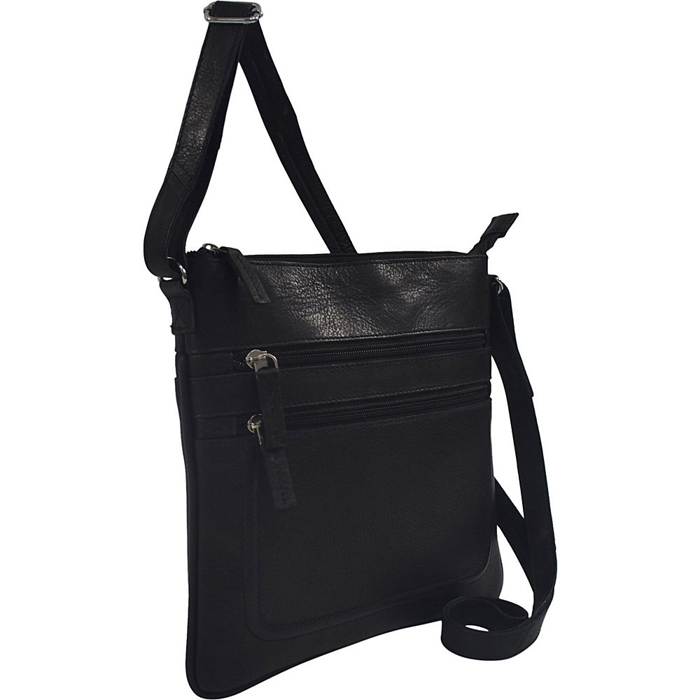 R R Collections Soft Drum Dyed Leather Square Crossbody Bag Black R R Collections Leather Handbags