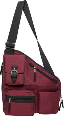 Sacs Collection by Annette Ferber Metro Signature Cross Body Bag- RFID Sleeve and Durable Strap Burgandy - Sacs Collection by Annette Ferber Fabric Handbags