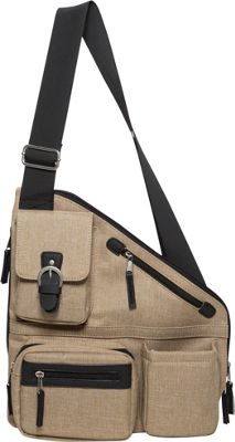 Sacs Collection by Annette Ferber Metro Signature Cross Body Bag- RFID Sleeve and Durable Strap Tan - Sacs Collection by Annette Ferber Fabric Handbags