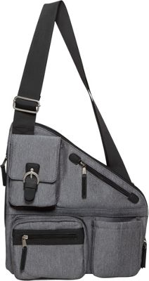 Sacs Collection by Annette Ferber Metro Signature Cross Body Bag- RFID Sleeve and Durable Strap Charcoal - Sacs Collection by Annette Ferber Fabric Handbags