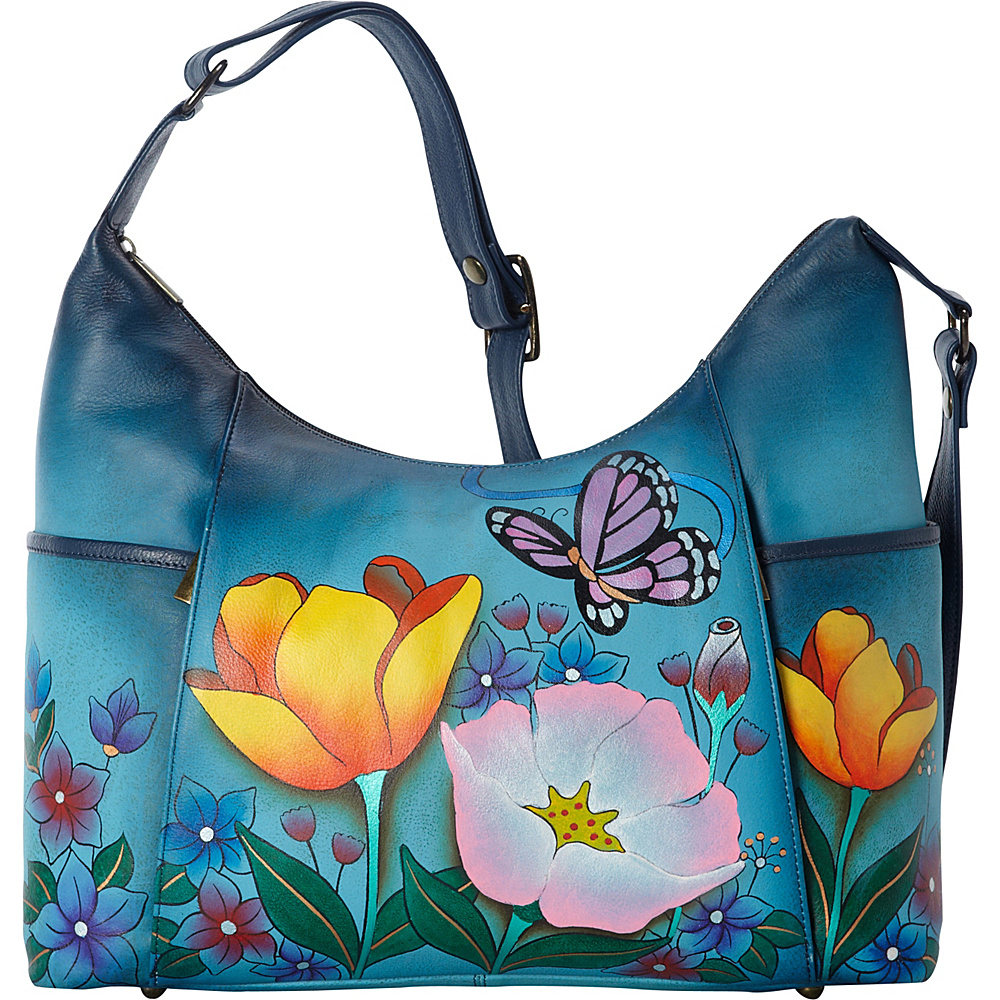 ANNA by Anuschka Hand Painted Large Shoulder Hobo Floral Garden Denim ANNA by Anuschka Leather Handbags
