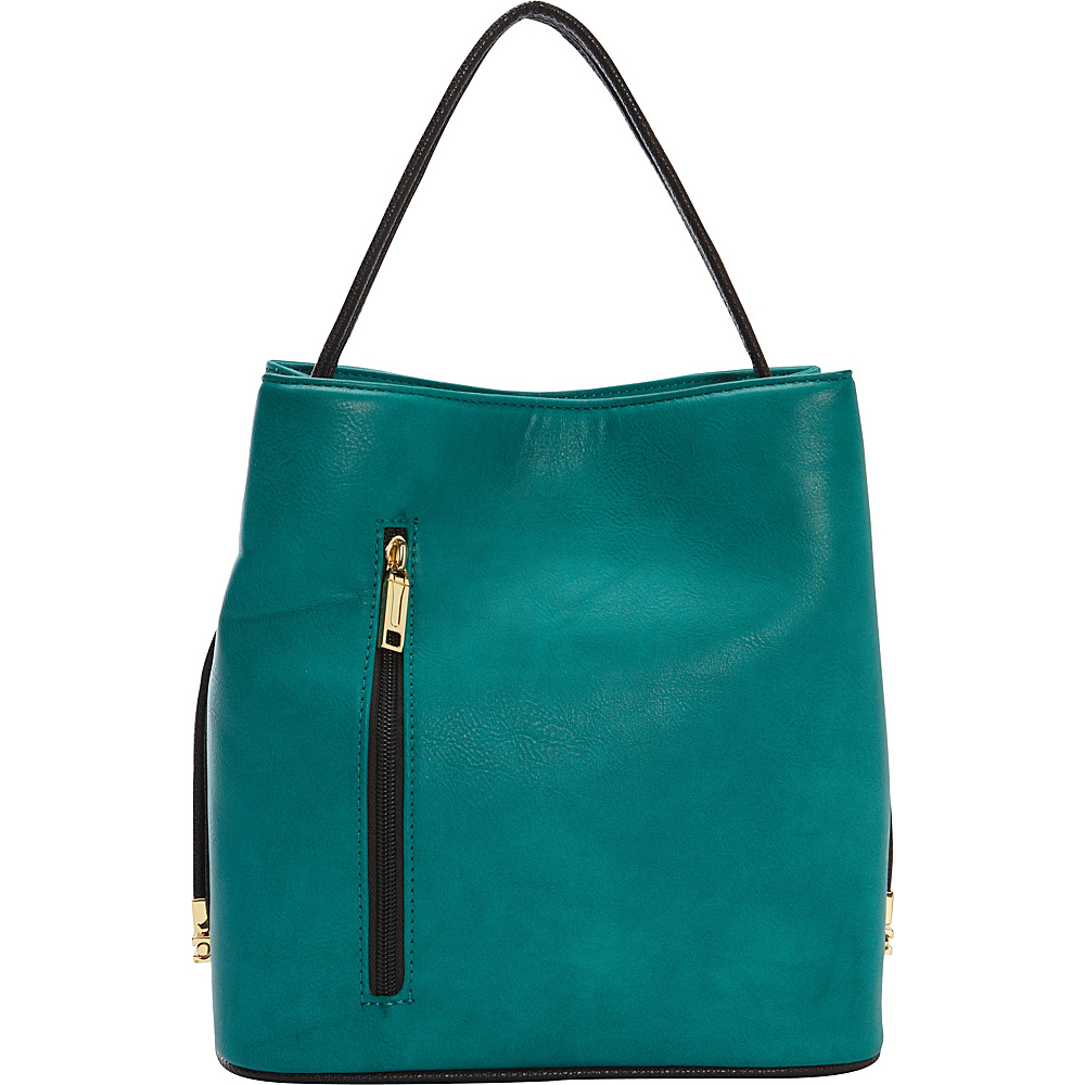 Samoe Classic Convertible Handbag Deep turquoise Bistro Brown Textured CL Samoe Manmade Handbags