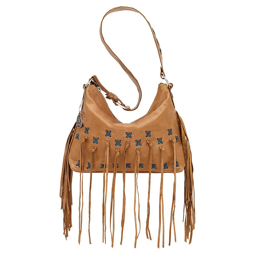 American West River Ranch Slouch Zip Top Shoulder Bag Deerskin American West Leather Handbags