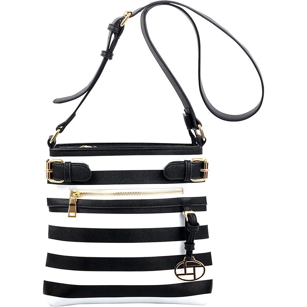 Dasein Saffiano Striped Buckled Crossbody Bag Black - Dasein Leather Handbags - Handbags, Leather Handbags