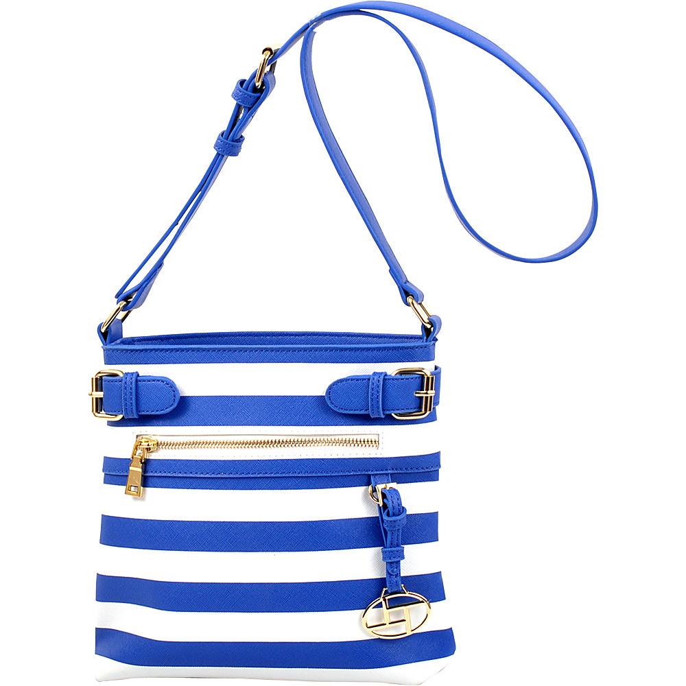 Dasein Saffiano Striped Buckled Crossbody Bag Blue - Dasein Leather Handbags - Handbags, Leather Handbags