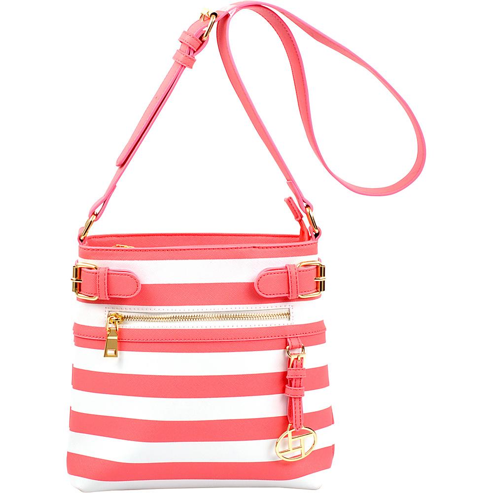 Dasein Saffiano Striped Buckled Crossbody Bag Fuchsia - Dasein Leather Handbags - Handbags, Leather Handbags