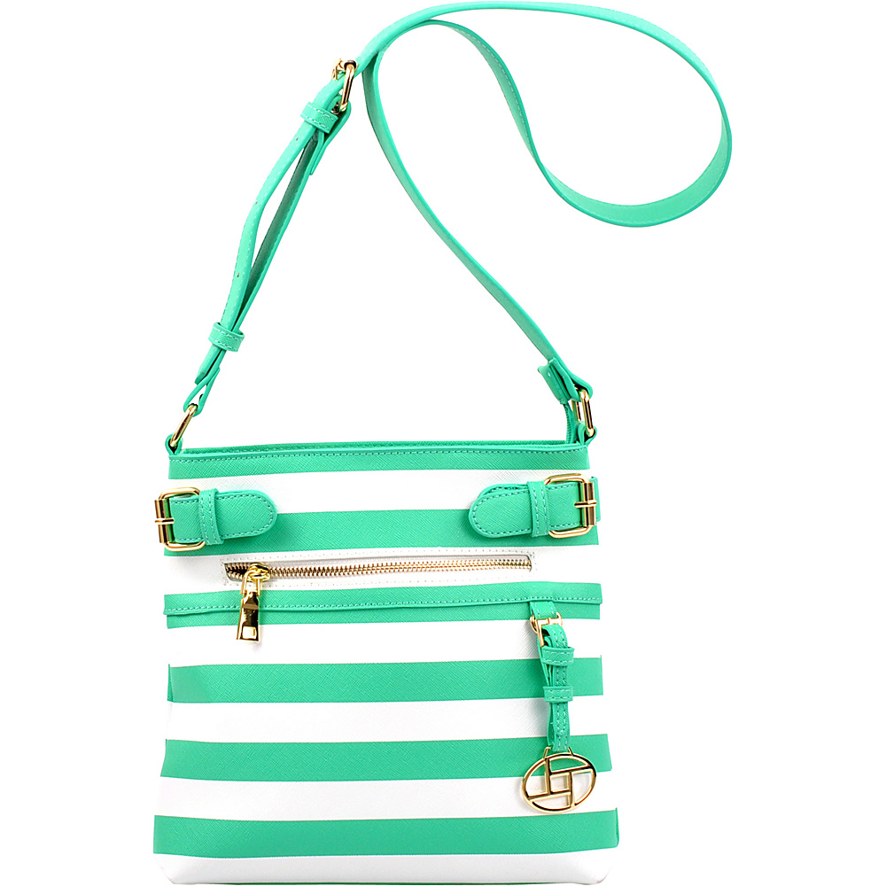 Dasein Saffiano Striped Buckled Crossbody Bag Green - Dasein Leather Handbags - Handbags, Leather Handbags