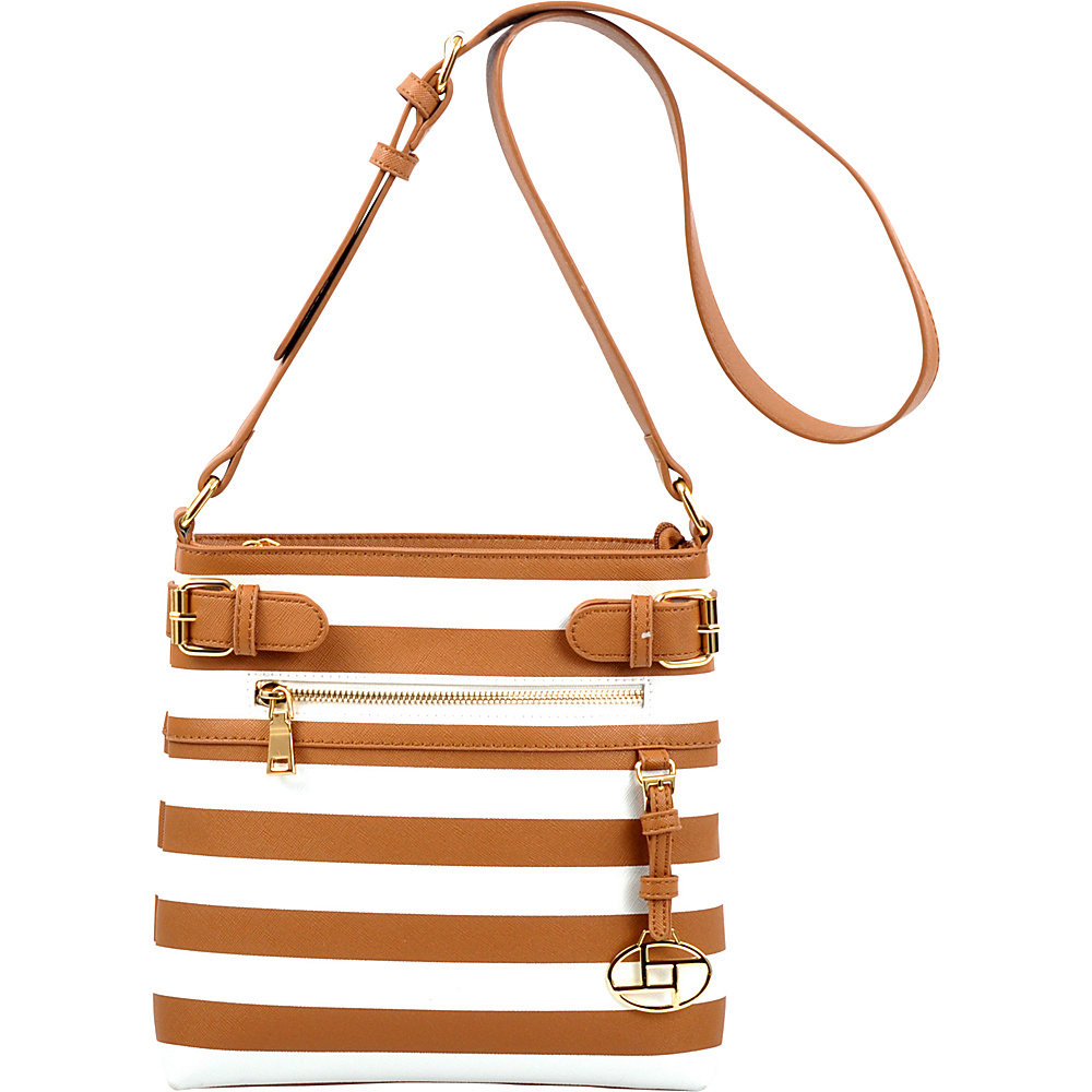 Dasein Saffiano Striped Buckled Crossbody Bag Taupe - Dasein Leather Handbags - Handbags, Leather Handbags
