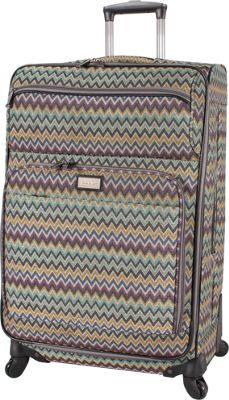 Nicole Miller NY Luggage Sally 28 inch Exp Spinner Teal - Nicole Miller NY Luggage Softside Checked