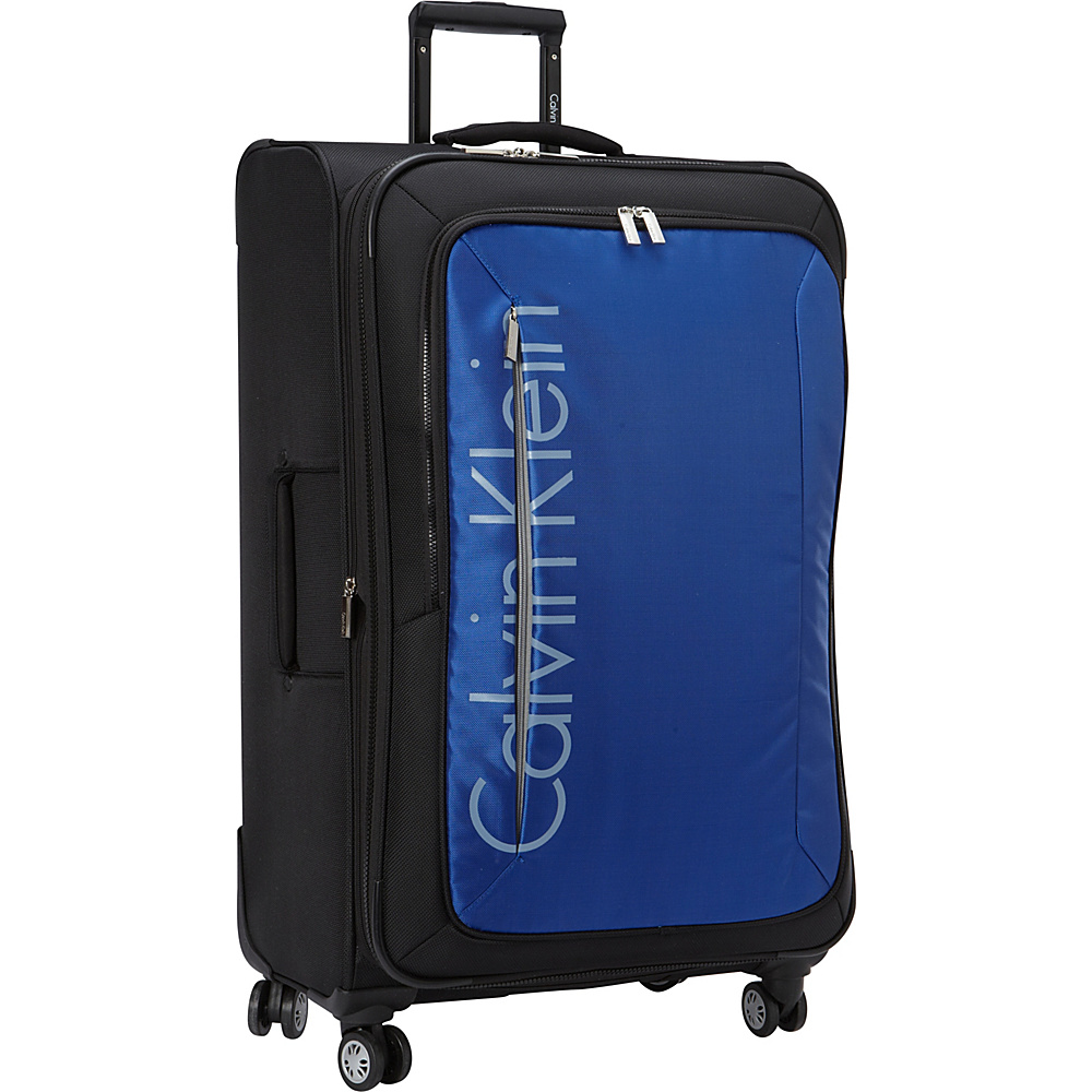 Calvin Klein Luggage Tremont 29 Upright Softside Spinner Blue - Calvin Klein Luggage Softside Checked