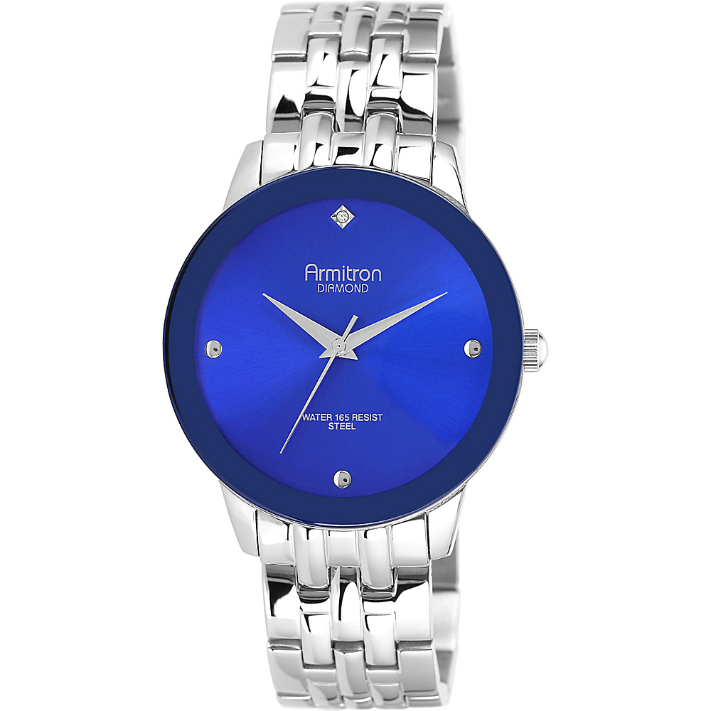 Armitron Mens Stainless Steel Diamond Accented Watch Blue Armitron Watches