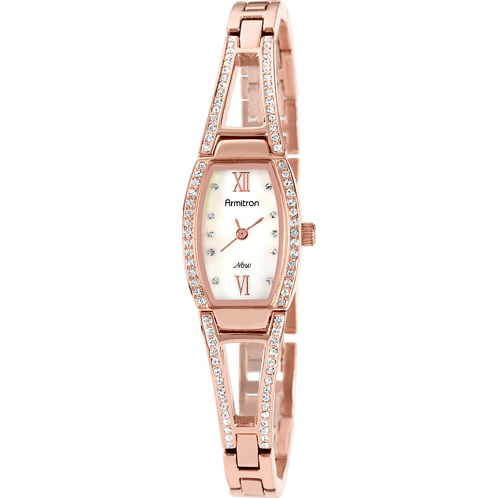 Armitron Womens Swarovski Crystal Accented Rosegold Tone Bangle Watch Rose Gold Armitron Watches