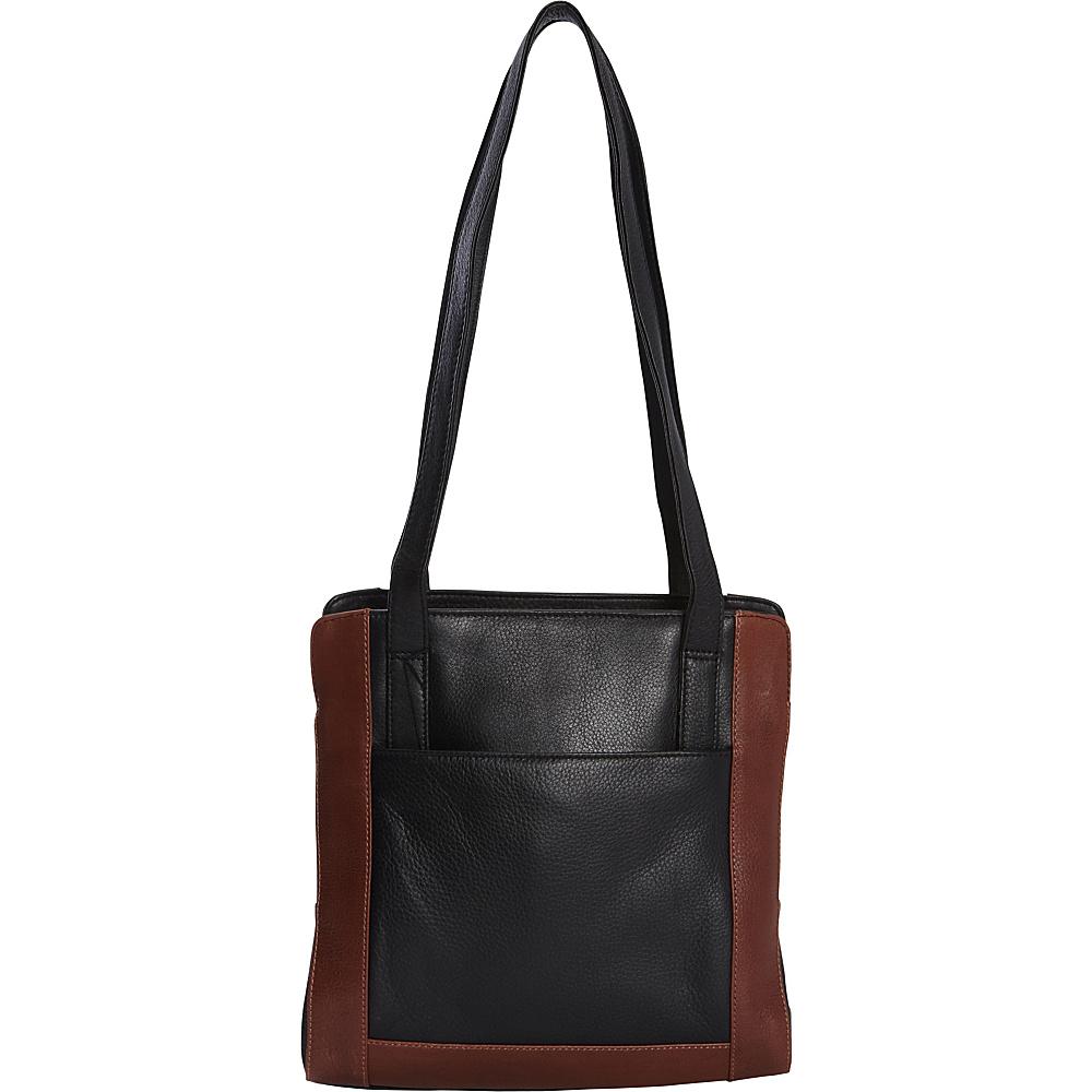 Derek Alexander Twin Handle Shoulder bag Black/Whisky - Derek Alexander Leather Handbags - Handbags, Leather Handbags