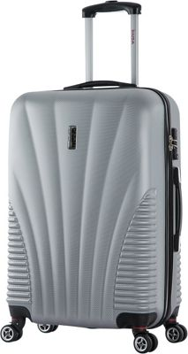 inUSA Chicago Collection 25 inch Lightweight Hardside Spinner Suitcase Silver - inUSA Hardside Checked