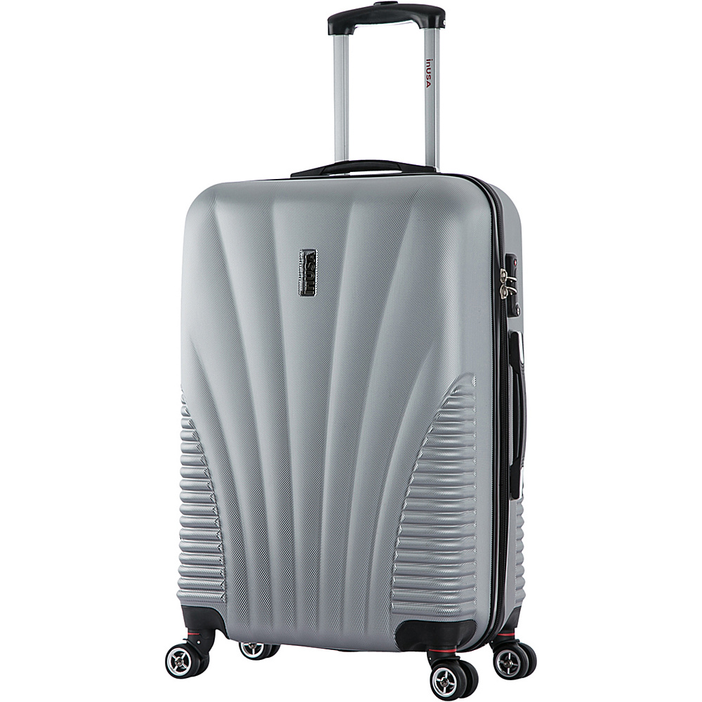 inUSA Chicago Collection 25 Lightweight Hardside Spinner Suitcase Silver inUSA Hardside Checked