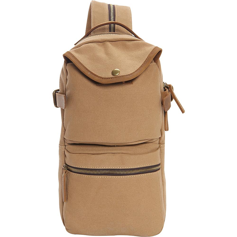 Vagabond Traveler Slim Long Shape Cotton Canvas Backpack Khaki - Vagabond Traveler Business & Laptop Backpacks - Backpacks, Business & Laptop Backpacks