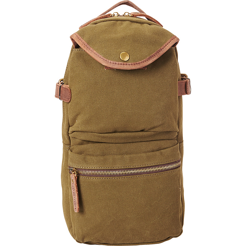 Vagabond Traveler Slim Long Shape Cotton Canvas Backpack Green - Vagabond Traveler Business & Laptop Backpacks - Backpacks, Business & Laptop Backpacks