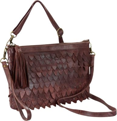 R & R Collections Genuine Leather Crossbody Bag With Wristlet And Scalloped Front Burgundy - R & R Collections Leather Handbags