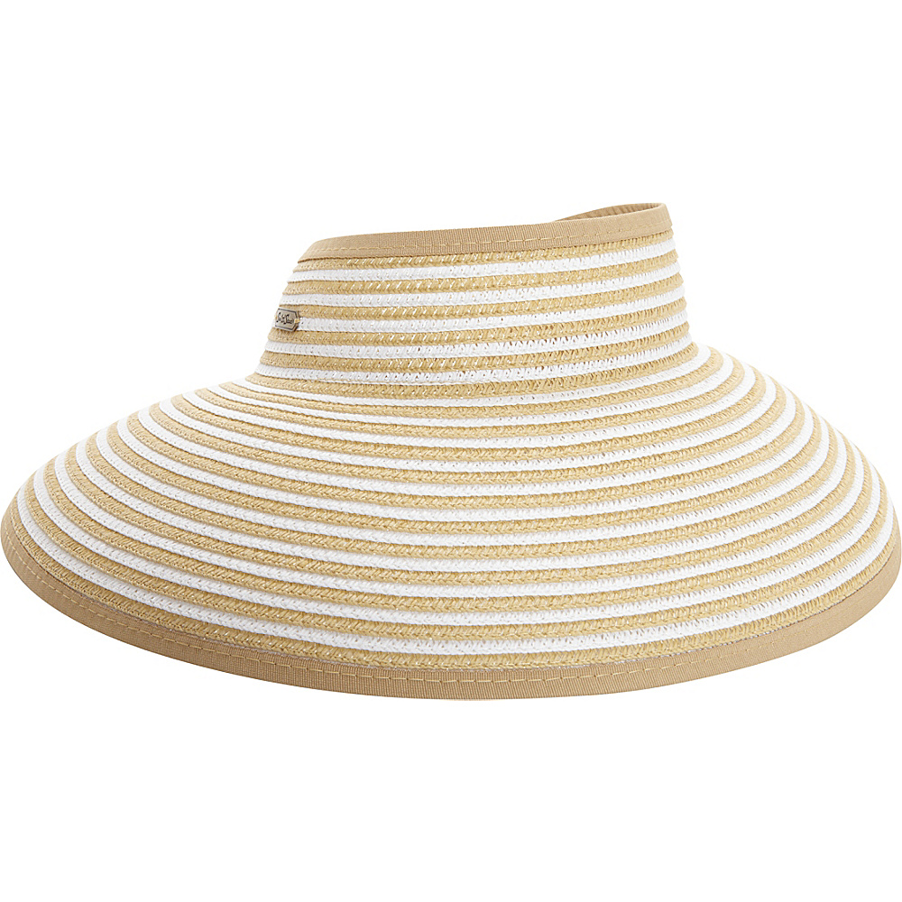 Sun N Sand Roll Up Striped Visor One Size - Natural - Sun N Sand Hats/Gloves/Scarves - Fashion Accessories, Hats/Gloves/Scarves