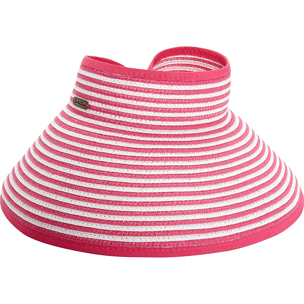 Sun N Sand Roll Up Striped Visor One Size - Fuchsia - Sun N Sand Hats/Gloves/Scarves - Fashion Accessories, Hats/Gloves/Scarves