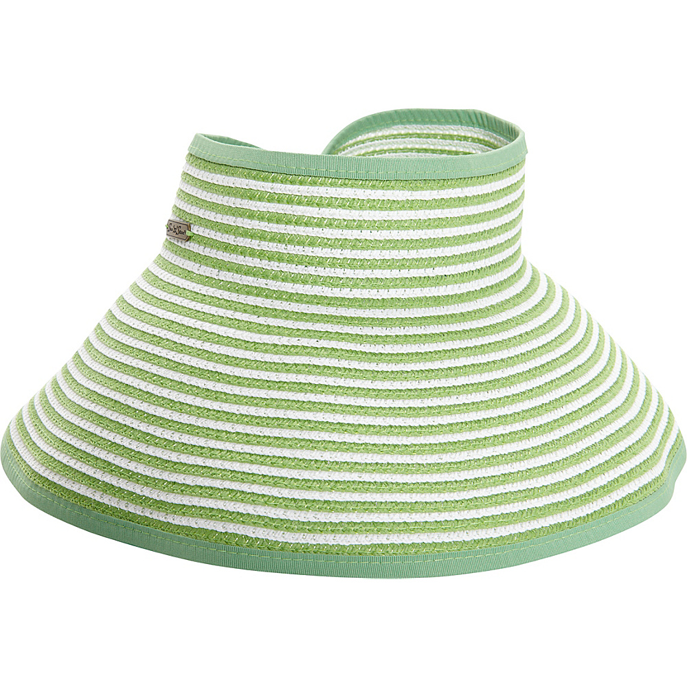 Sun N Sand Roll Up Striped Visor One Size - Lime Green - Sun N Sand Hats/Gloves/Scarves - Fashion Accessories, Hats/Gloves/Scarves