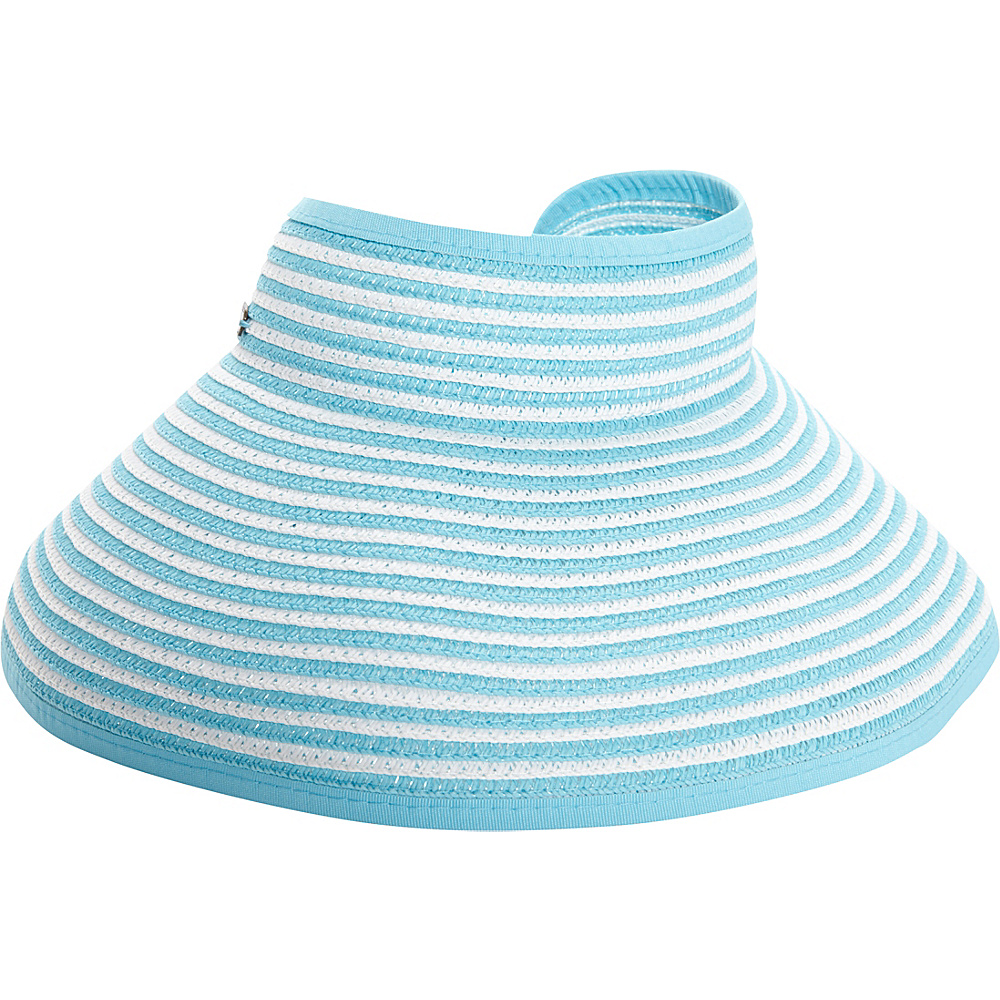 Sun N Sand Roll Up Striped Visor One Size - Turquoise - Sun N Sand Hats/Gloves/Scarves - Fashion Accessories, Hats/Gloves/Scarves