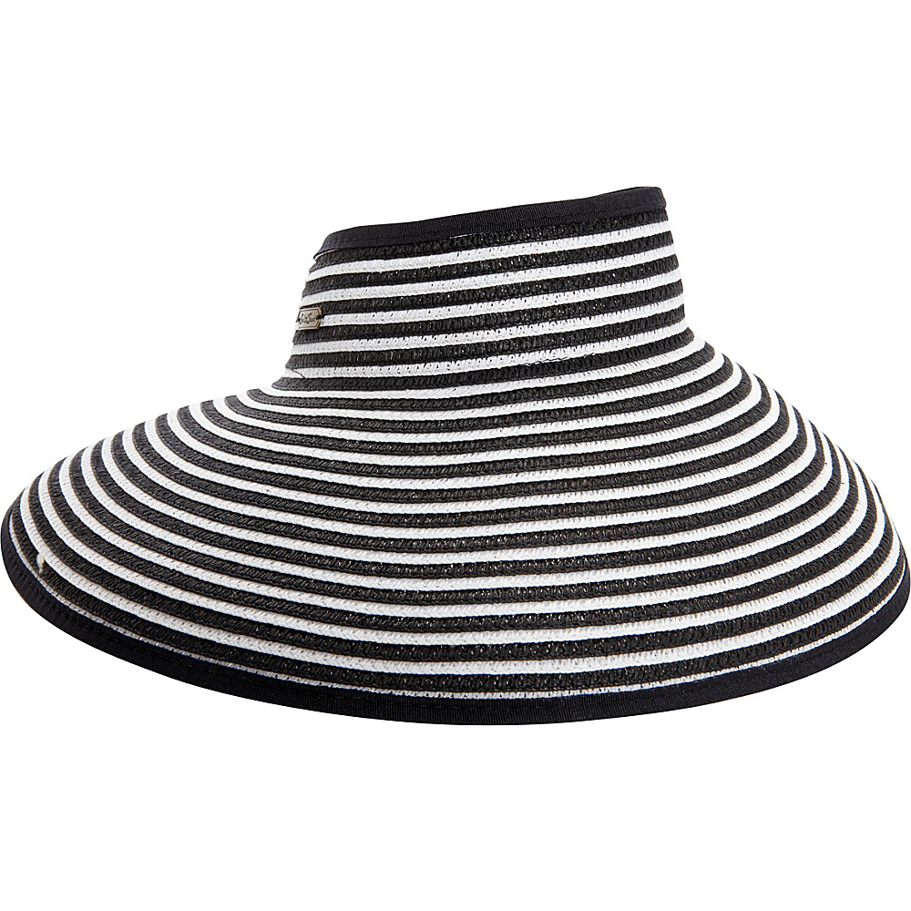 Sun N Sand Roll Up Striped Visor One Size - Black - Sun N Sand Hats/Gloves/Scarves - Fashion Accessories, Hats/Gloves/Scarves