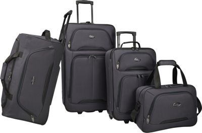 U.S. Traveler Vineyard 4-Piece Softside Luggage Set Charcoal - U.S. Traveler Luggage Sets