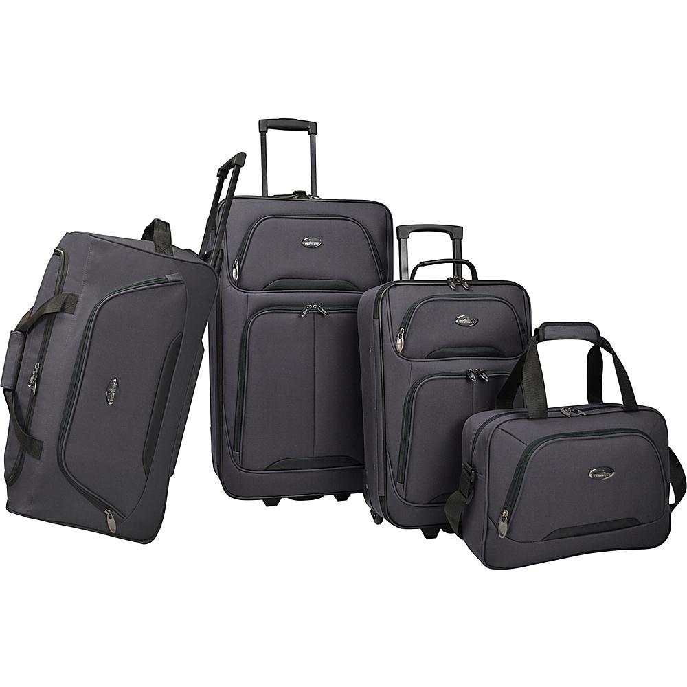U.S. Traveler Vineyard 4 Piece Softside Luggage Set Charcoal U.S. Traveler Luggage Sets