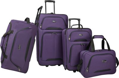 U.S. Traveler Vineyard 4-Piece Softside Luggage Set Purple - U.S. Traveler Luggage Sets